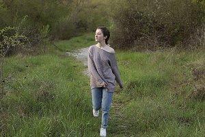 Teenager walking through the Pyrenee
