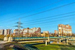 Bridge across a lake in Kiev, the capital of Ukraine