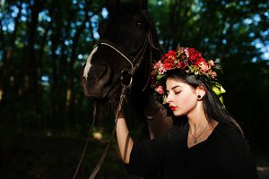 Mystical girl with horse
