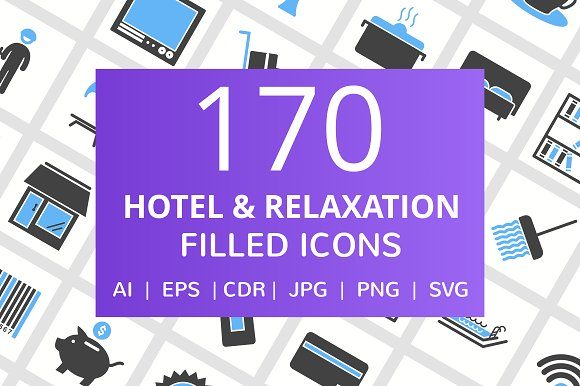 170 Hotel Relaxation Filled Icons