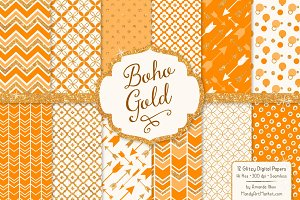 Tangerine Glitter Boho Patterns