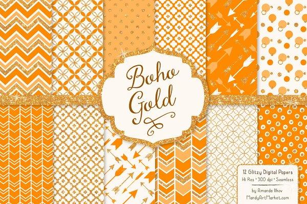 Tangerine Glitter Boho Patterns