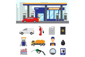 Gas station vector gasoline fuel or petrol and diesel for fueling cars illustration set of transportation refuel icons isolated on white background