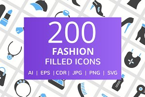 200 Fashion Filled Line Icons