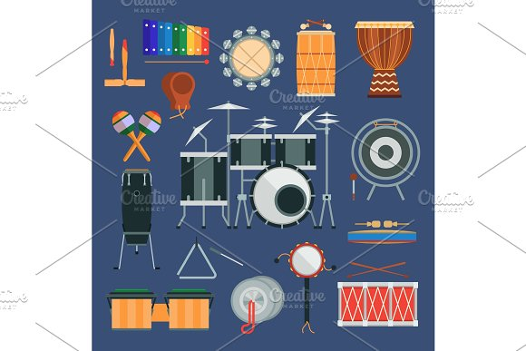 Vector Drum Percussion Musical Instruments Flat Style Classical Orchestral Rock-pop Concert Drums Traditional National Cartoon Music Instruments Design Elements
