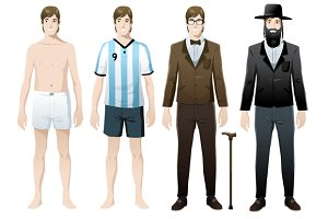 Man in costumes vector isolated set
