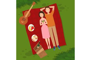 Young couple two people woman and man lie on the grass vector illustration of summer picnik top view couple in love lying on grass barbecue outdoor romantic date people