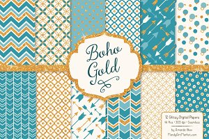 Vintage Blue Glitter Patterns