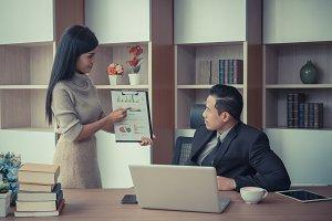 businessman coaching and teaching