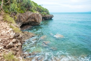 Idillic coral ocean coast with turquoise water