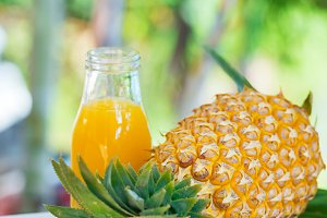 Fresh yellow pineapple tropic fruit summer refreshment smoothie