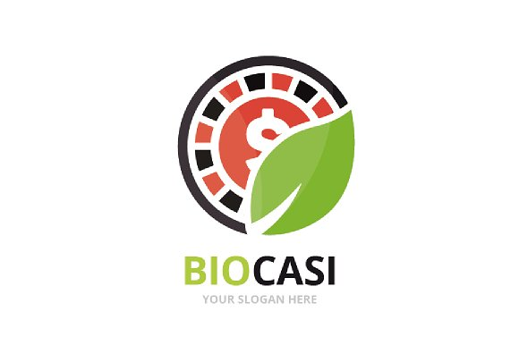 Vector Casino And Leaf Logo Combination Chip And Eco Symbol Or Icon Unique Roulette Game And Organic Logotype Design Template