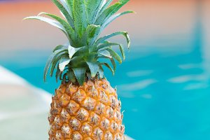 Fresh yellow pineapple tropic fruit summer refreshment near pool