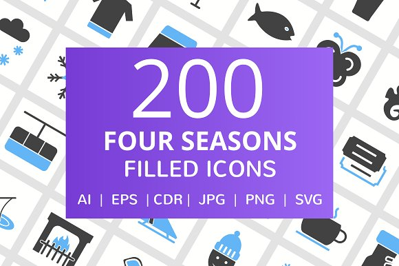 200 Four Seasons Filled Icons