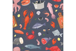 Seafood vector sea fish shellfish and lobster on fishmarket illustration fishery set of salmon prawn for ocean gourmet dinner isolated on seamless pattern background