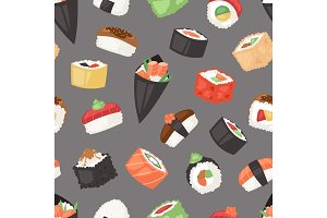 Japanese food vector sushi sashimi roll or nigiri and appetizer with seafood rice in Japan restaurant illustration Japanization cuisine set isolated on seamless pattern background