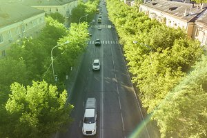 aerial traffic motion in the city, road between the trees