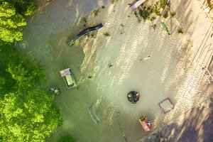 overhead view of playing ground for children