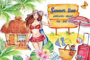 Summer. Set of watercolor clipart