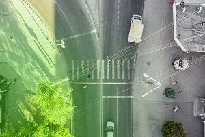 overhead view of crosswalk in the urban city with people
