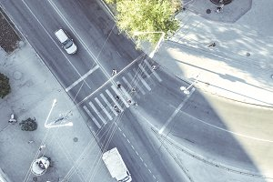aerial crosswalk in the city top down view