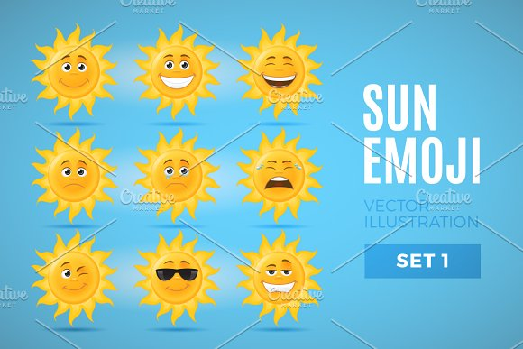 Sun Emoticons Set 1