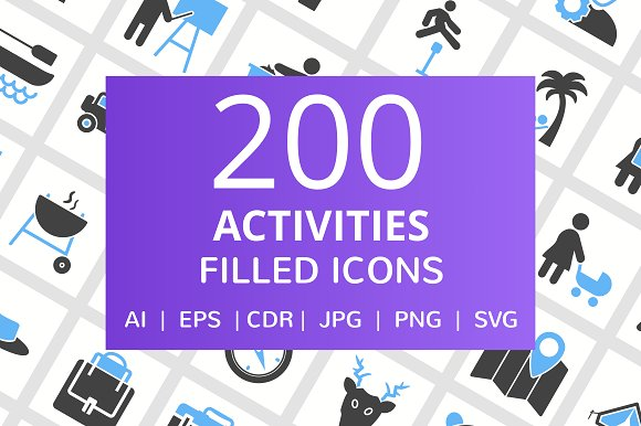 200 Activities Filled Icons