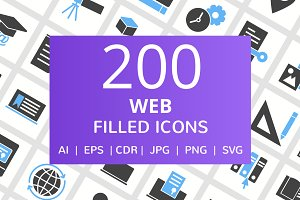 200 Web Filled Blue & Black Icons