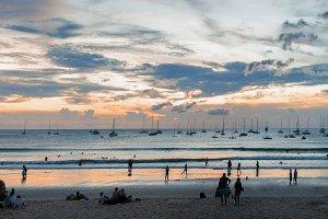 Sailboats resting after regatta at Kata Beach Phuket island Thai
