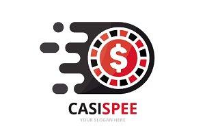 Vector fast casino logo combination.