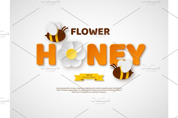 Flower Honey Typographic Design Paper Cut Style Letters Flower And Bees Template Design For Beekiping And Honey Product White Background Vector Illustration