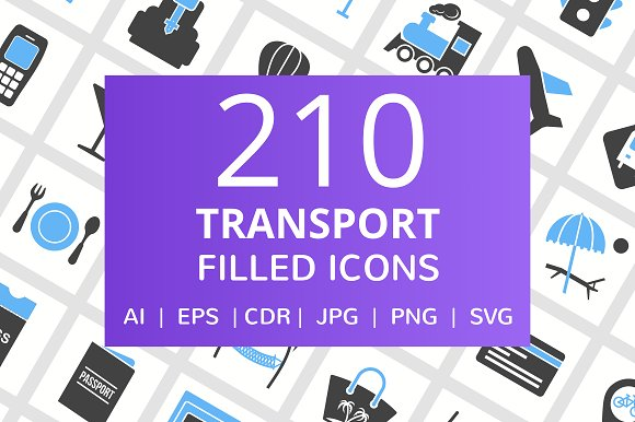 210 Transport Filled Icons