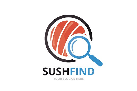 Vector Sushi And Loupe Logo Combination Japanese Food And Magnifying Symbol Or Icon Unique Seafood And Search Logotype Design Template