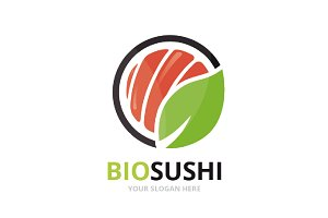 Vector sushi and leaf logo