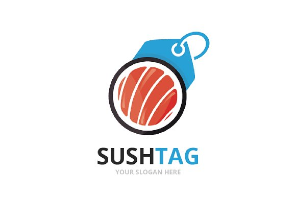 Vector Sushi And Tag Logo Combination Japanese Food And Shop Symbol Or Icon Unique Seafood And Label Logotype Design Template