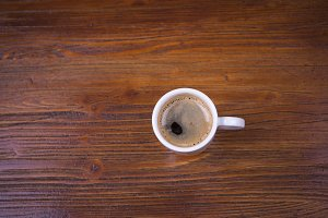 Coffee cup with overhead view