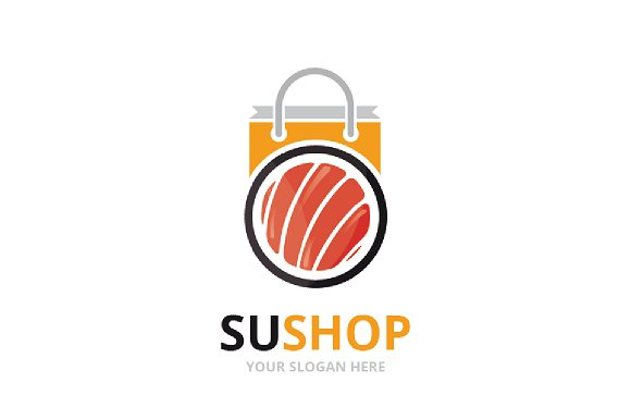 Vector Sushi And Shop Logo Combination Japanese Food And Sale Symbol Or Icon Unique Seafood And Bag Logotype Design Template
