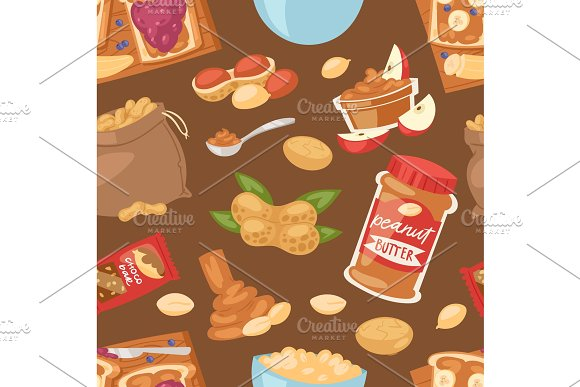 Peanut Vector Groundnut Butter Or Peanut Paste On Toast Bread Illustration Set Of Nutritious Nut Cream Or Nutshell Isolated On Seamless Pattern Background