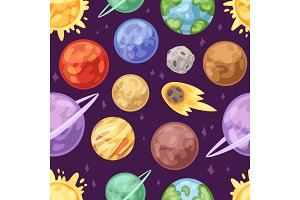 Planet vector planetary system in space with mercury venus earth or mars in planetarium and astronomical illustration set of jupiter saturn or uranus in universe seamless pattern background