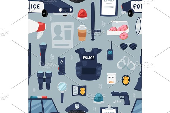 Police Vector Policy Signs Of Policeman And Police Car Illustration Set Of Or Policeofficers Bulletproof Vest And Handcuffs In Police-office Symbols Seamless Pattern Background
