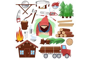 Timber vector lumberman character and logger saws lumber or hardwood set of wooden timbered materials in sawmill and lumberjack isolated on white background