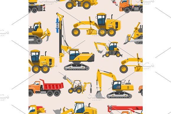 Excavator For Construction Vector Digger Or Bulldozer Excavating With Shovel And Excavation Machinery Industry Illustration Set Of Constructive Vehicles And Digging Machine Seamless Pattern Background