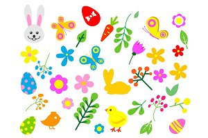 Easter eggs vector floral decor elements painted spring pattern decoration multi colored vintage ornament organic food holiday game symbol illustration.