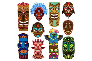 Tribal mask vector masking ethnic culture and aztec face masque illustration set of traditional aborigine masked symbol isolated on white background