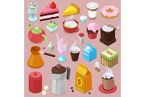 Dessert cake vector drink coffee or tea with baked cupcake and sweet doughnut in cafe illustration set of coffeecups and caked biscuits from menu in coffeeshop isolated on background
