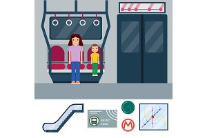 Metro station transportation modern railroad trip transit tunnel vehicle service vector illustration.