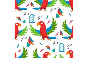 Seamless pattern parrot bird cell vector illustration wild animal characters cute fauna tropical feather pets background.