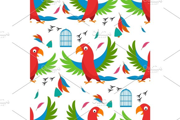 Seamless Pattern Parrot Bird Cell Vector Illustration Wild Animal Characters Cute Fauna Tropical Feather Pets Background