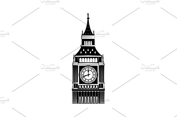 Big Ben Vector Black On White