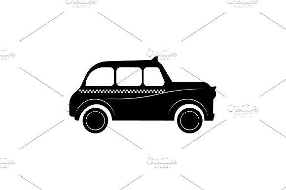 London Taxi Vector Black On White